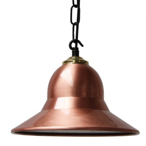 """Manufactured in Ireland, this traditional copper and brass pendant is reminiscent of a traditional factory light."""