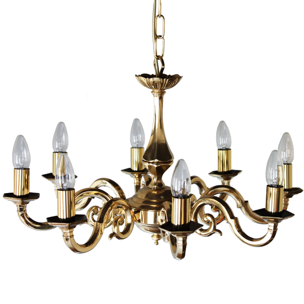Elvey 8 Arm Brass Quality Chandelier Image