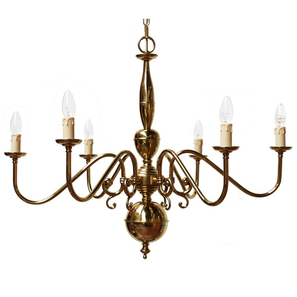 Flemish 6 Arm Brass Light Fitting Image