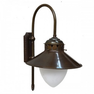 """""""Manufactured in Ireland, this quality brass factory wall light comes complete with frosted pineapple glass shade."""""""