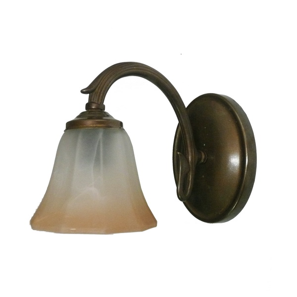 """Manufactured in Ireland, this traditional wall light comes complete with two toned bell glass shade."""