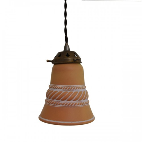 """Manufactured in Ireland this classic Terracotta Ceramic Bell Light pendant fitting perfectly diffuses light to give an even warm glow."""