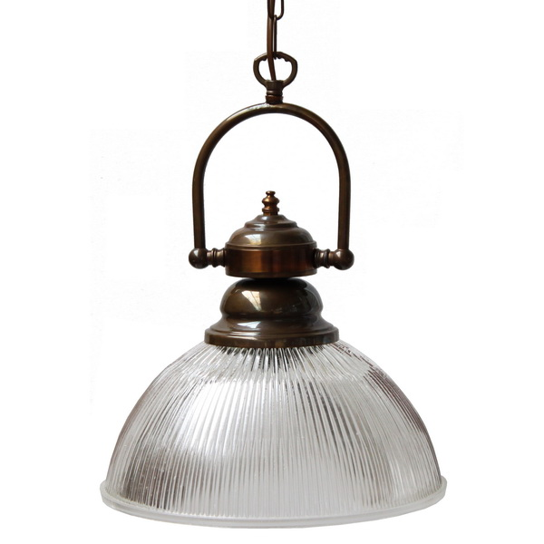 """""""Manufactured in Ireland, this quality solid brass and prismatic holophane glass pendant is reminiscent of traditional industrial pendants."""""""