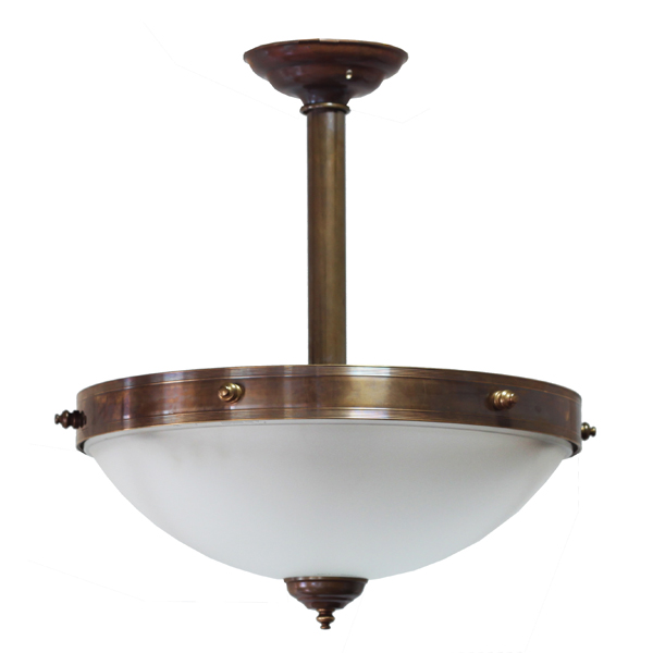 """Manufactured in Ireland, this traditional antique brass and glass pendant is reminiscent of Victorian style lighting."""