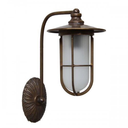 From our traditional lighting range manufactured in Ireland, this solid brass wall light comes complete with a frosted well glass shade which when lit creates a lovely warm glow.