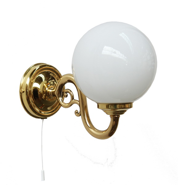 """From our traditional lighting range manufactured in Ireland, this brass wall light comes complete with a 140mm opal glass globe and a pull switch if required."""