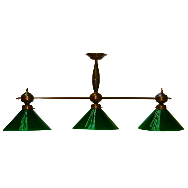 """Manufactured in Ireland, this traditional style brass triple pool table pendant light with green glass is reminiscent of a traditional antique pool table light."""