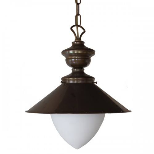 """Manufactured in Ireland, this traditional brass and glass pendant is reminiscent of Victorian style gas light."""