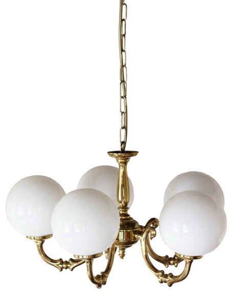 """Manufactured in Ireland, this quality brass traditional globe chandelier comes complete with 250mm opal globes."""