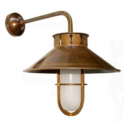"""Manufactured in Ireland, this quality brass factory wall light comes complete with frosted well glass shade."""