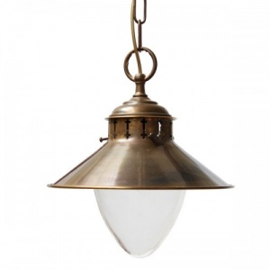 """Manufactured in Ireland, this nautical style spun brass pendant with glass is reminiscent of a traditional marine light."""