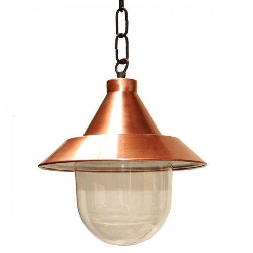 """Manufactured in Ireland, this traditional copper and glass pendant is reminiscent of a traditional ship light."""