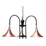"""""""This Copper and black 3 arm fitting is manufactured in Ireland, creating a warm glow when lit."""""""