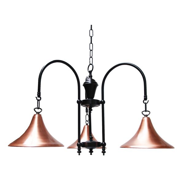 """This Copper and black 3 arm fitting is manufactured in Ireland, creating a warm glow when lit."""