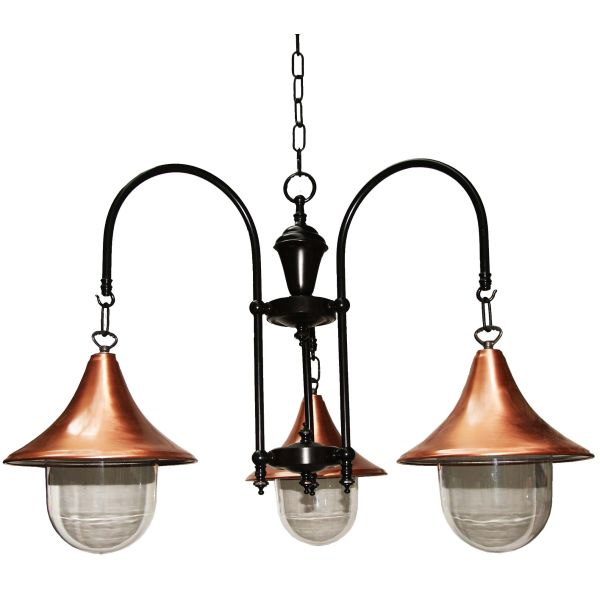 """This Copper and black 3 arm fitting is manufactured in Ireland, creating a warm glow when lit, this factory style chandelier looks great with squirrel cage bulbs."""