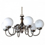 """""""Manufactured in Ireland, this quality brass chandelier comes complete with 200mm opal glass shades."""""""