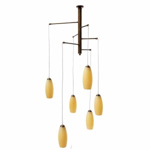 """Manufactured in Ireland, this modern quality brass fitting comes with cream alley glass shades."""