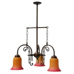 """Manufactured in Ireland, this quality brass traditional Victorian pub fitting comes with coloured bell glass shades."""