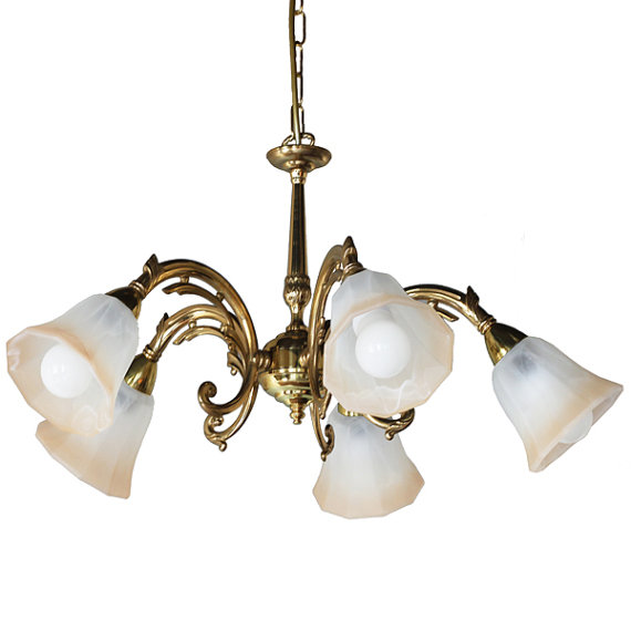 """Manufactured in Ireland, this quality brass traditional pub fitting comes with two toned bell shades."""