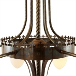 """""""Manufactured in Ireland, this quality large ornate brass traditional fitting comes complete with large pineapple shades."""""""