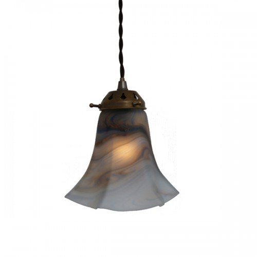 """Manufactured in Ireland this classic Grey Blue Pendant fitting perfectly diffuses light to give an even warm glow."""