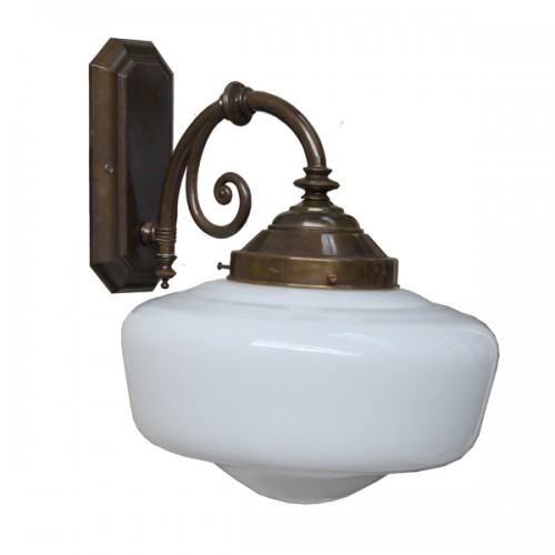 """Manufactured in Ireland, this solid brass 1920s inspired traditional wall light comes with schoolhouse glass shade."""