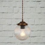 """The Stanley 16cm Holophane Globe Pendant features a holophane glass shade for a atmospheric glow of vintage light."""